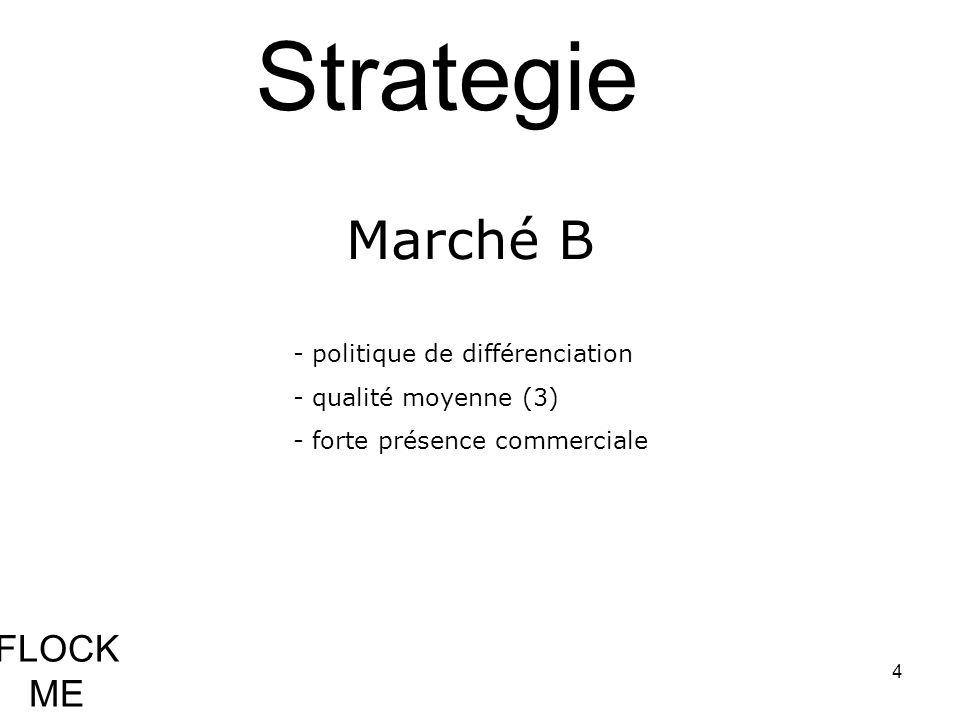4 Strategie - politique de différenciation - qualité moyenne (3) - forte présence commerciale Marché B FLOCK ME
