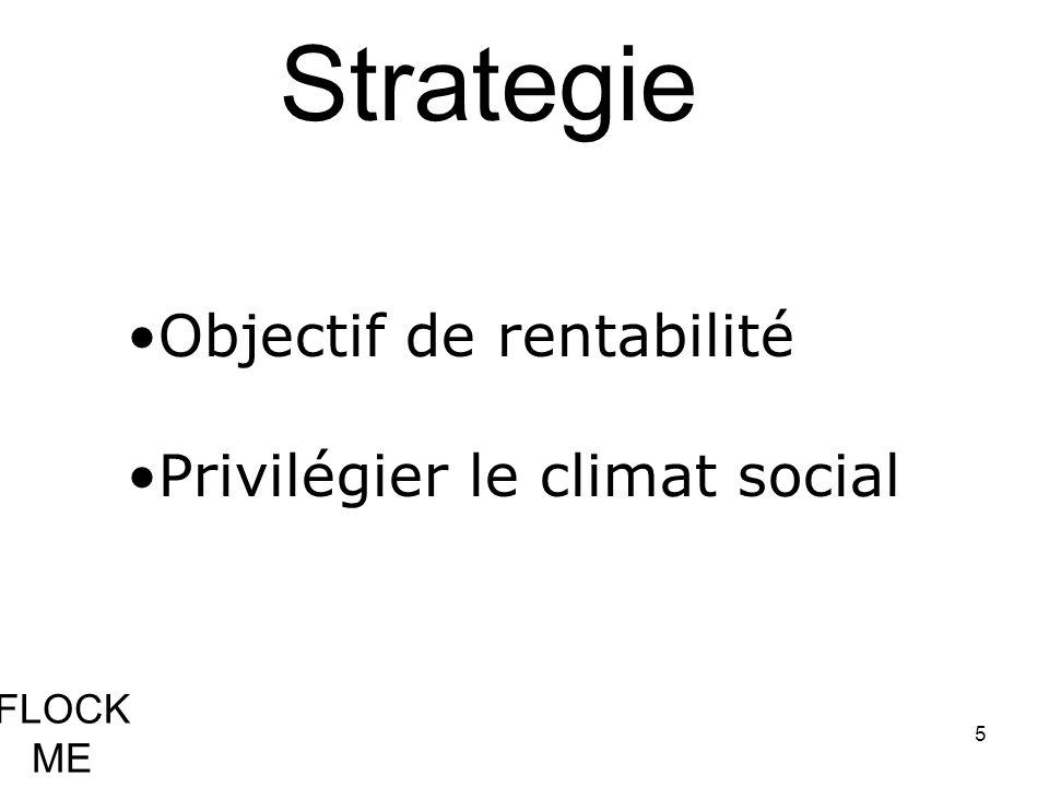 5 Strategie Objectif de rentabilité Privilégier le climat social FLOCK ME