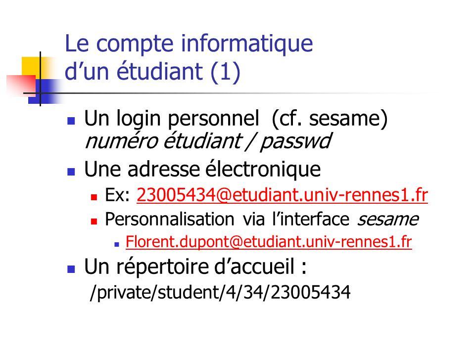 Le compte informatique dun étudiant (1) Un login personnel (cf. sesame) numéro étudiant / passwd Une adresse électronique Ex: 23005434@etudiant.univ-r