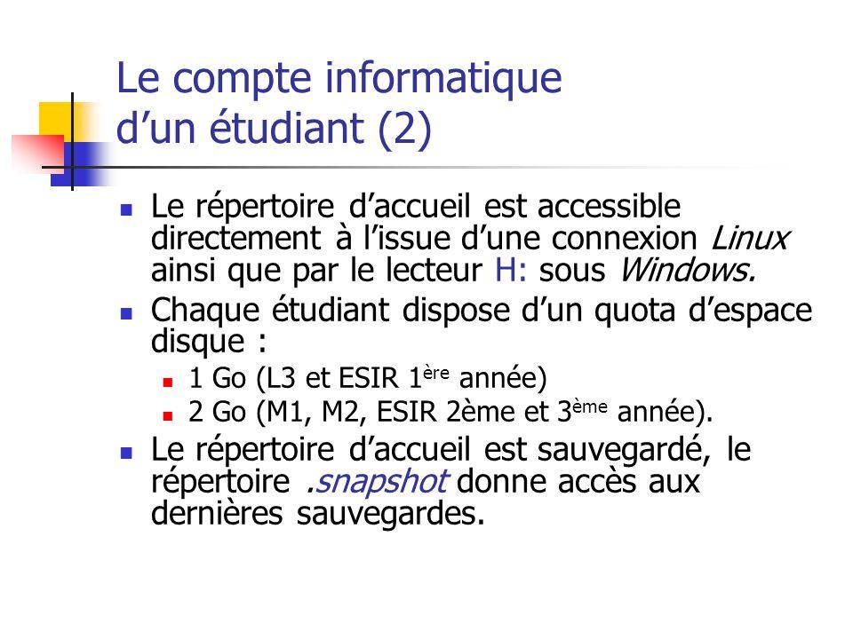 Le compte informatique dun étudiant (2) Le répertoire daccueil est accessible directement à lissue dune connexion Linux ainsi que par le lecteur H: so