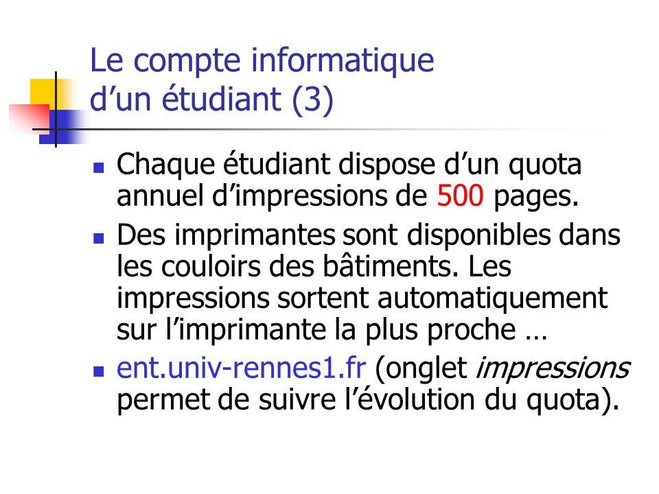 Le compte informatique dun étudiant (3) Chaque étudiant dispose dun quota annuel dimpressions de 500 pages. Des imprimantes sont disponibles dans les