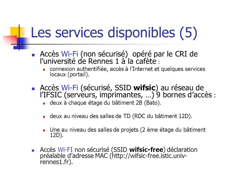 Les services disponibles (5) Accès Wi-Fi (non sécurisé) opéré par le CRI de luniversité de Rennes 1 à la cafète : connexion authentifiée, accès à lInt