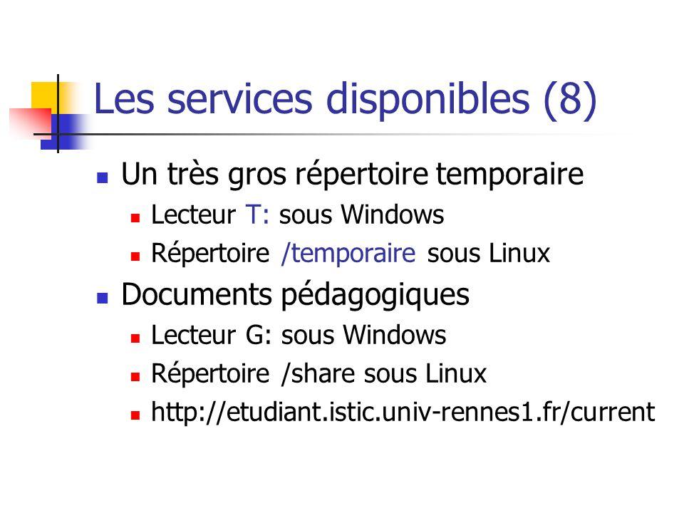 Les services disponibles (8) Un très gros répertoire temporaire Lecteur T: sous Windows Répertoire /temporaire sous Linux Documents pédagogiques Lecte