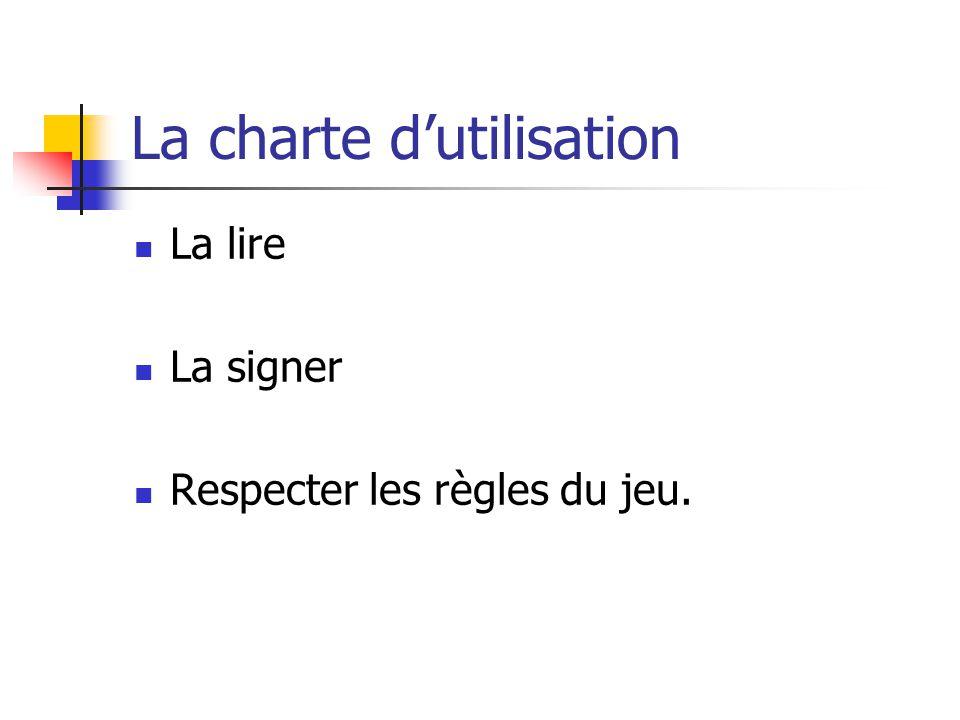 La charte dutilisation La lire La signer Respecter les règles du jeu.