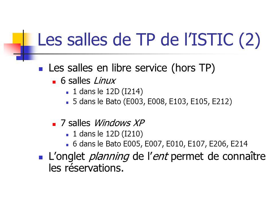 Les salles de TP de lISTIC (2) Les salles en libre service (hors TP) 6 salles Linux 1 dans le 12D (I214) 5 dans le Bato (E003, E008, E103, E105, E212)