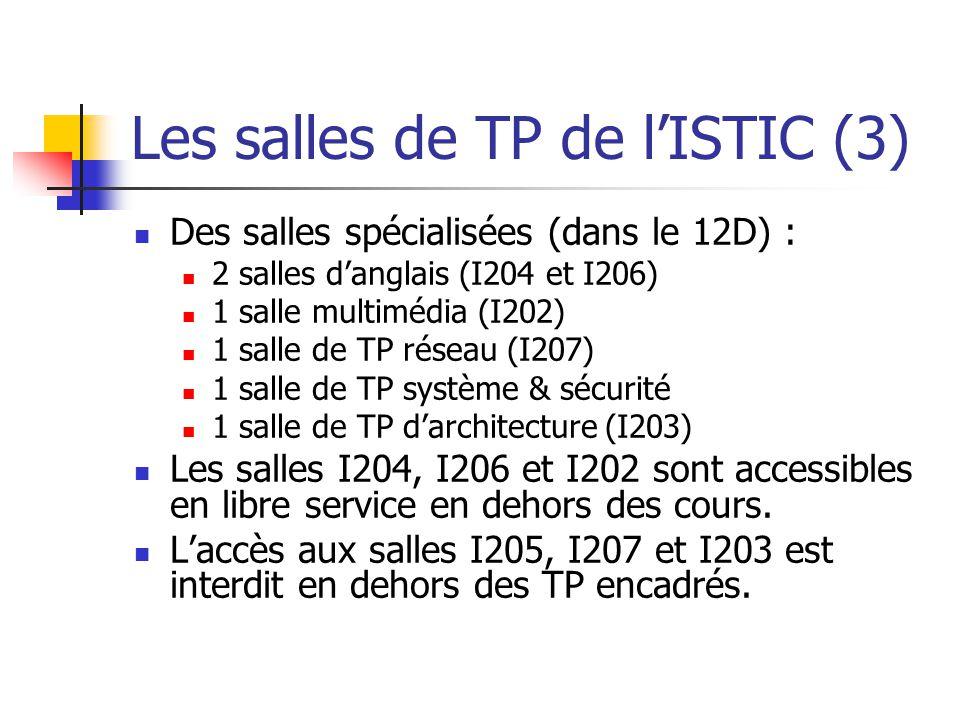 Les salles de TP de lISTIC (3) Des salles spécialisées (dans le 12D) : 2 salles danglais (I204 et I206) 1 salle multimédia (I202) 1 salle de TP réseau