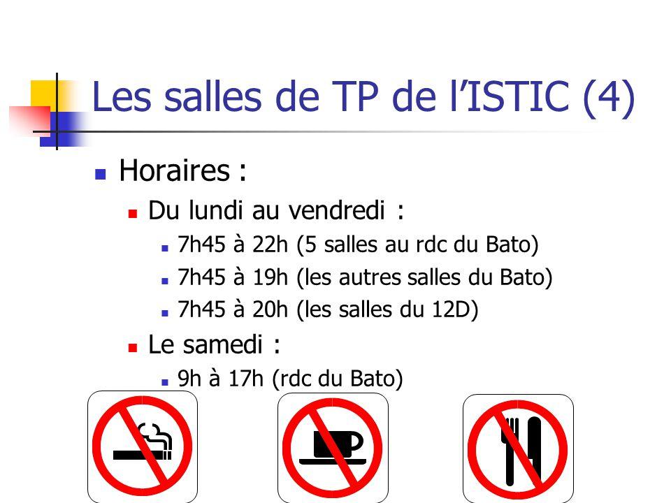 Les salles de TP de lISTIC (4) Horaires : Du lundi au vendredi : 7h45 à 22h (5 salles au rdc du Bato) 7h45 à 19h (les autres salles du Bato) 7h45 à 20