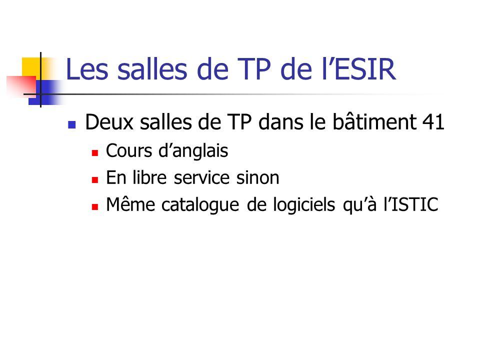 Les salles de TP de lESIR Deux salles de TP dans le bâtiment 41 Cours danglais En libre service sinon Même catalogue de logiciels quà lISTIC