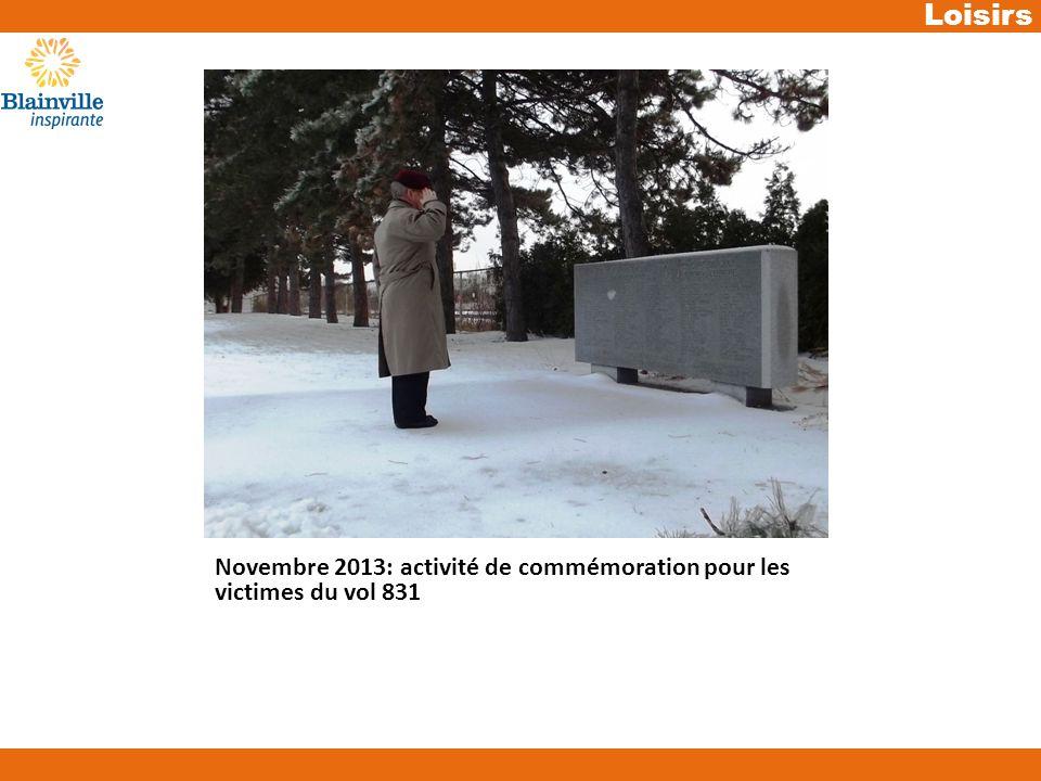 Loisirs Novembre 2013: activité de commémoration pour les victimes du vol 831