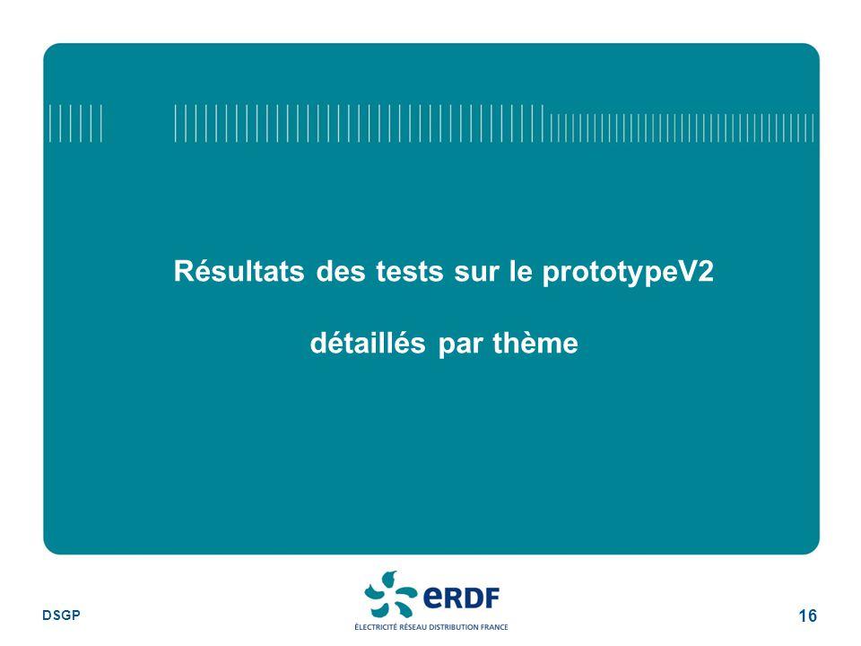DSGP 16 Résultats des tests sur le prototypeV2 détaillés par thème