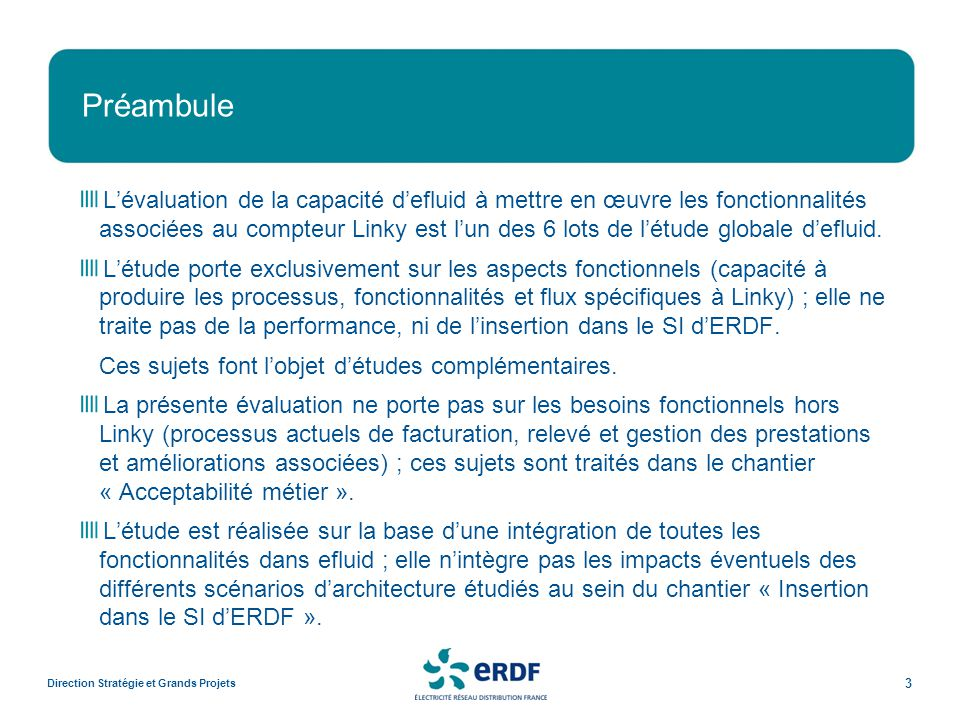 Préambule Direction Stratégie et Grands Projets 3 Lévaluation de la capacité defluid à mettre en œuvre les fonctionnalités associées au compteur Linky est lun des 6 lots de létude globale defluid.