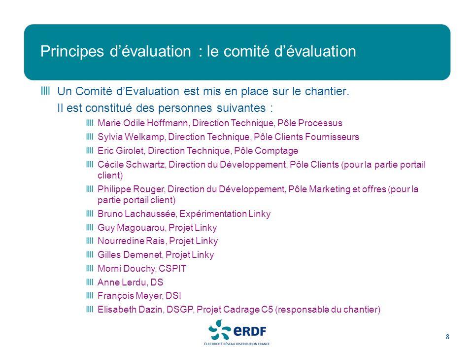 Principes dévaluation : le comité dévaluation 8 Un Comité dEvaluation est mis en place sur le chantier.