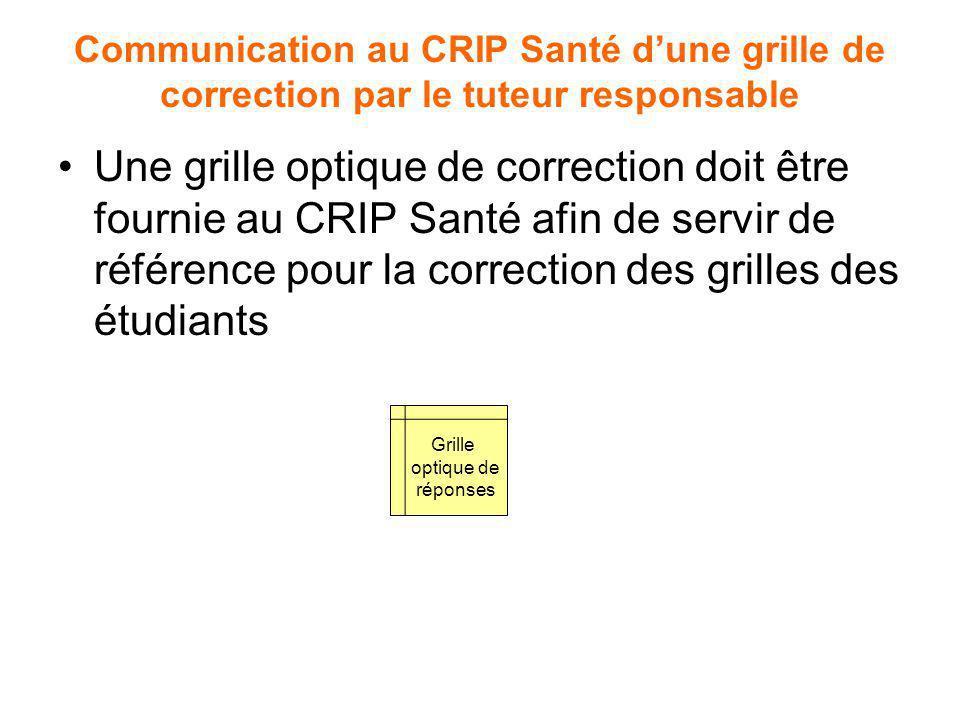 Communication au CRIP Santé dune grille de correction par le tuteur responsable Une grille optique de correction doit être fournie au CRIP Santé afin