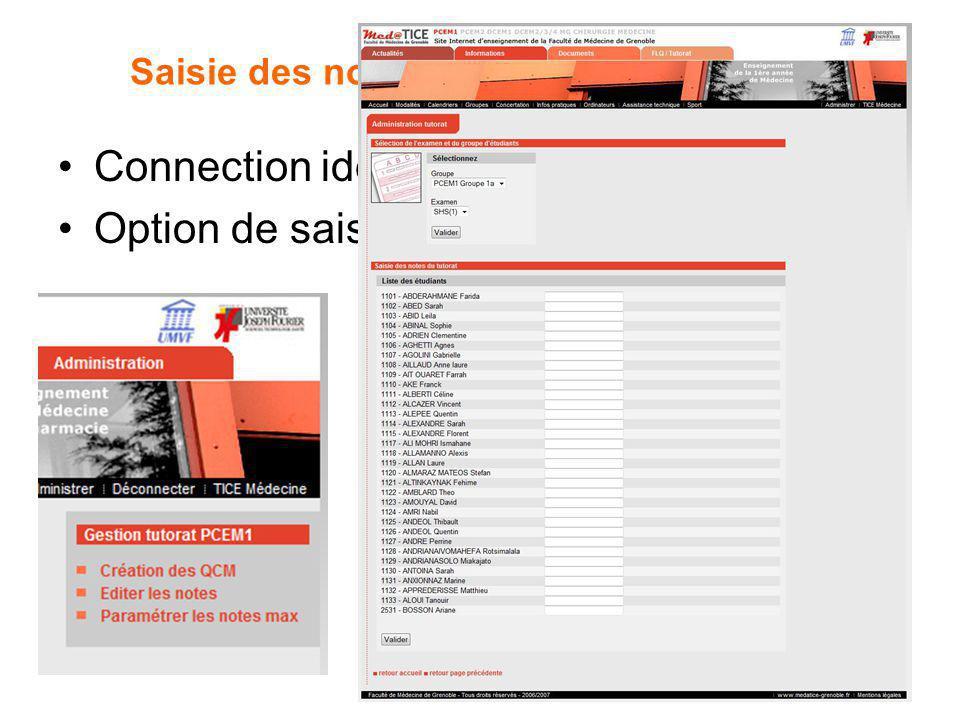 Saisie des notes de SSH par les tuteurs Connection identique Option de saisie dans le menu de droite