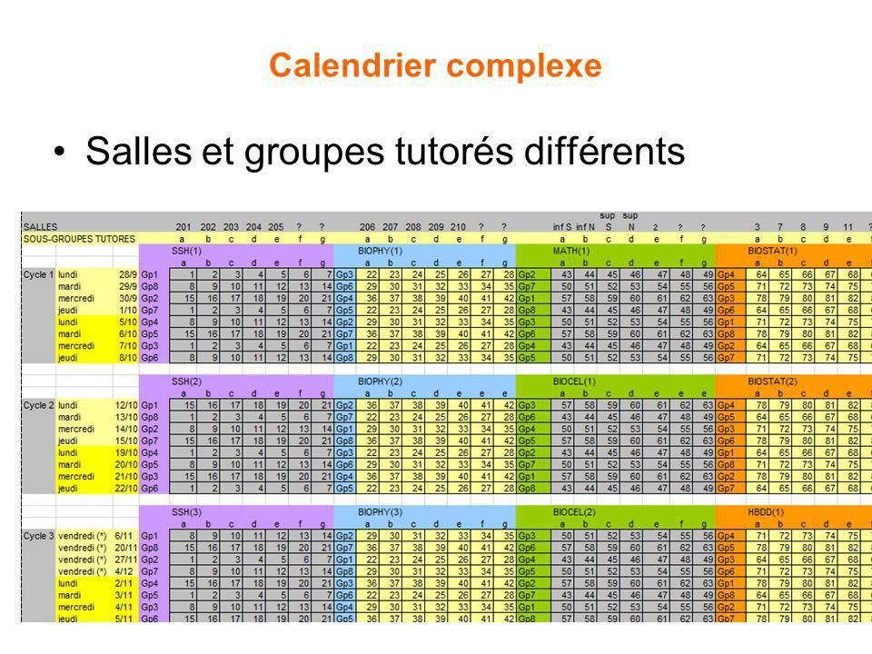 Calendrier complexe Salles et groupes tutorés différents