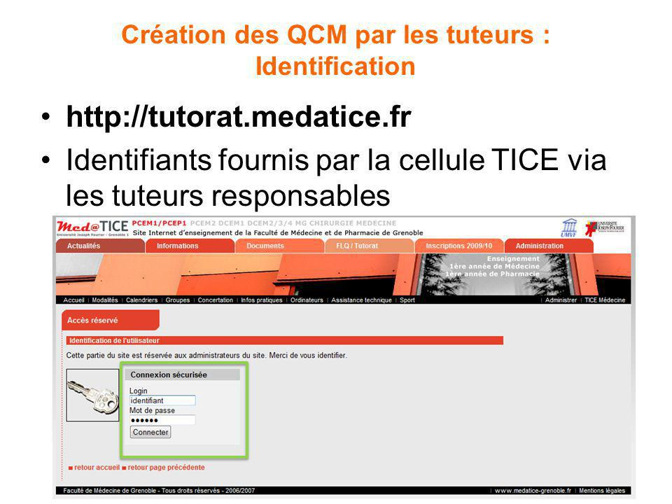 Création des QCM par les tuteurs : Identification http://tutorat.medatice.fr Identifiants fournis par la cellule TICE via les tuteurs responsables