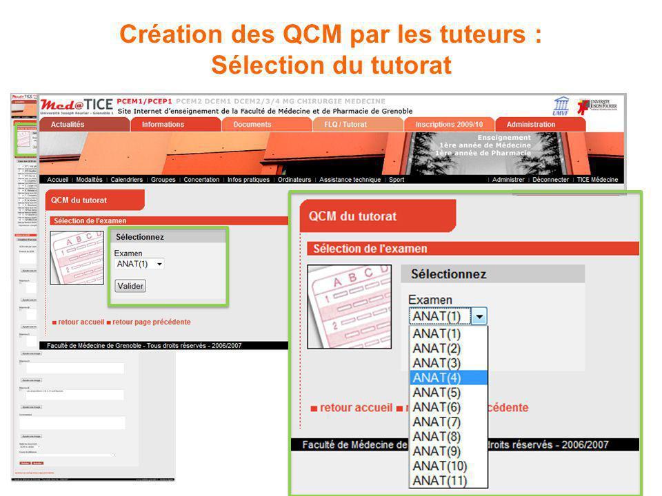 Création des QCM par les tuteurs : Sélection du tutorat