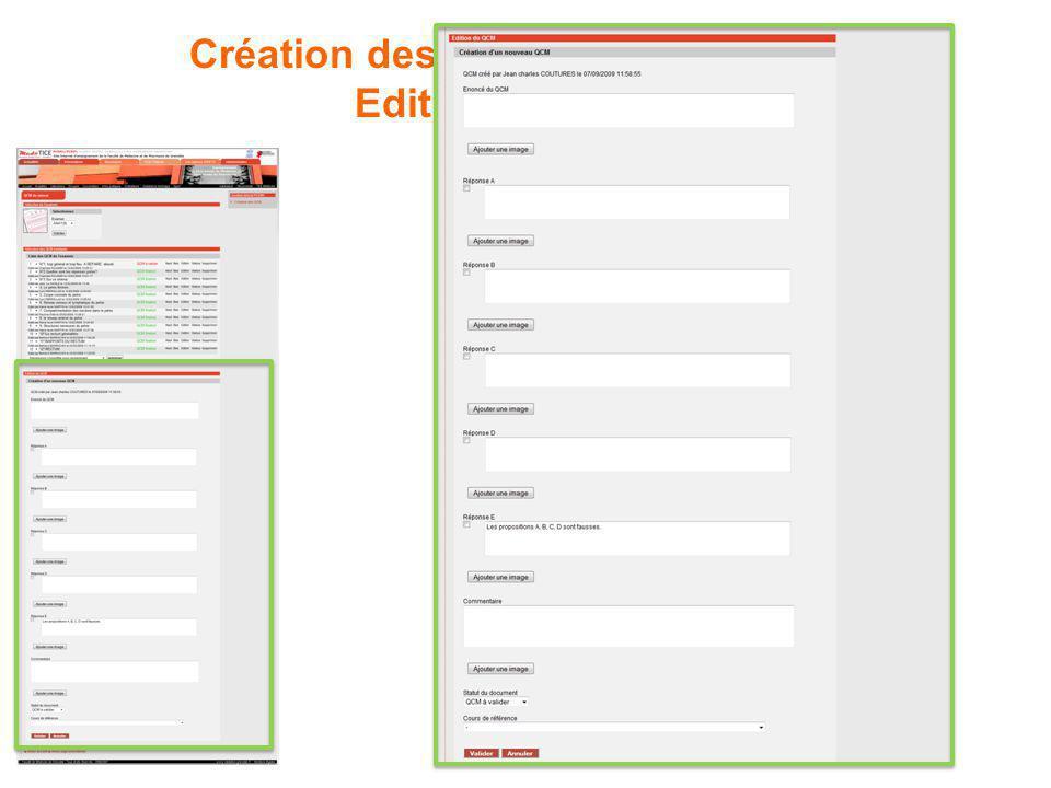 Création des QCM par les tuteurs : Edition dun QCM