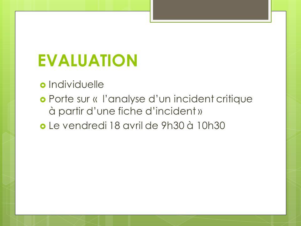 EVALUATION Individuelle Porte sur « lanalyse dun incident critique à partir dune fiche dincident » Le vendredi 18 avril de 9h30 à 10h30