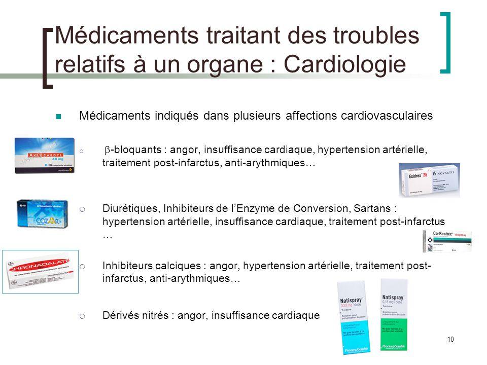 10 Médicaments traitant des troubles relatifs à un organe : Cardiologie Médicaments indiqués dans plusieurs affections cardiovasculaires -bloquants :