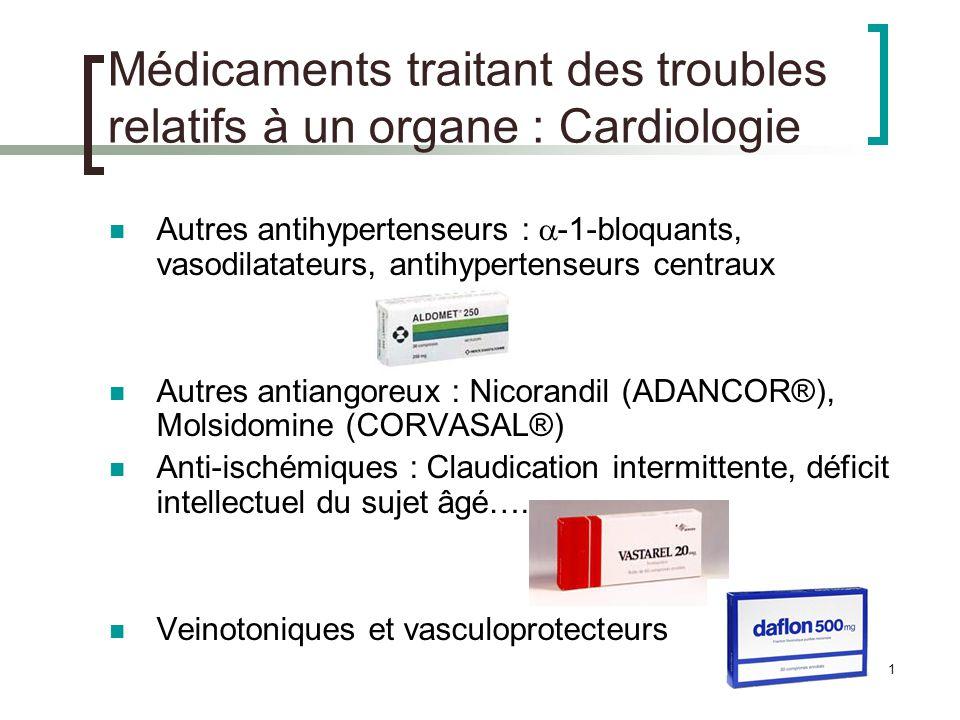 12 Médicaments traitant des troubles relatifs à un organe : Cardiologie Antiarythmiques : classification en fonction de leur mode daction Classe I : Classe I a : Hydroquinidine (SERECOR®) Classe I b : Lidocaïne (XYLOCARD®) Classe I c : Flécaïnide (FLECAINE®) Classe II : -bloquants Classe III : Amiodarone (CORDARONE®) Classe IV : Inhibiteurs calciques Rappel : la digoxine est aussi utilisée dans les troubles du rythme