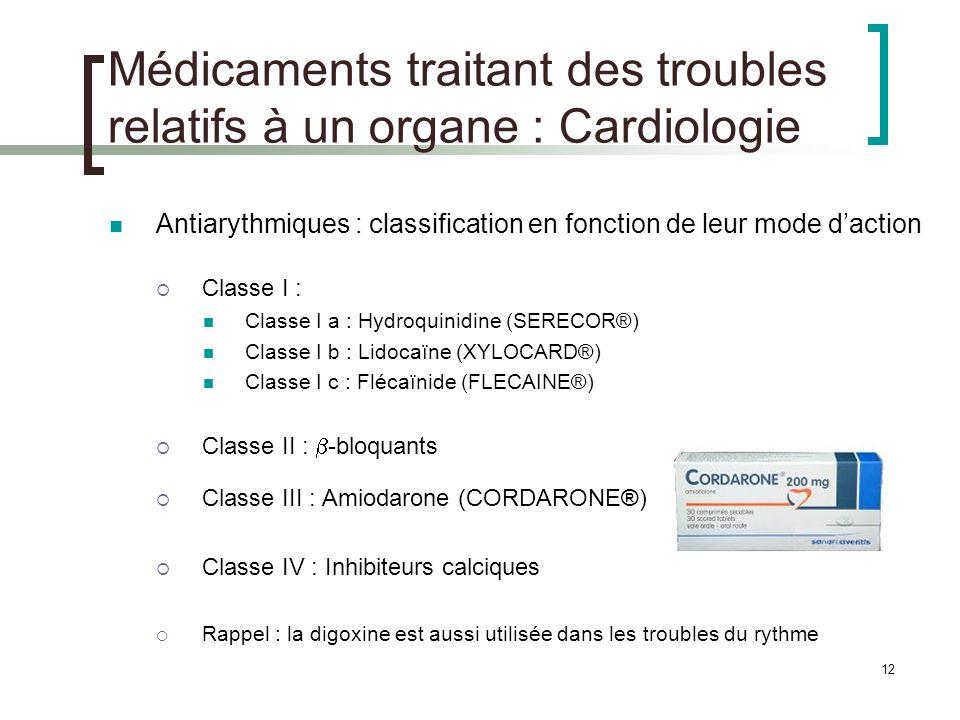12 Médicaments traitant des troubles relatifs à un organe : Cardiologie Antiarythmiques : classification en fonction de leur mode daction Classe I : C