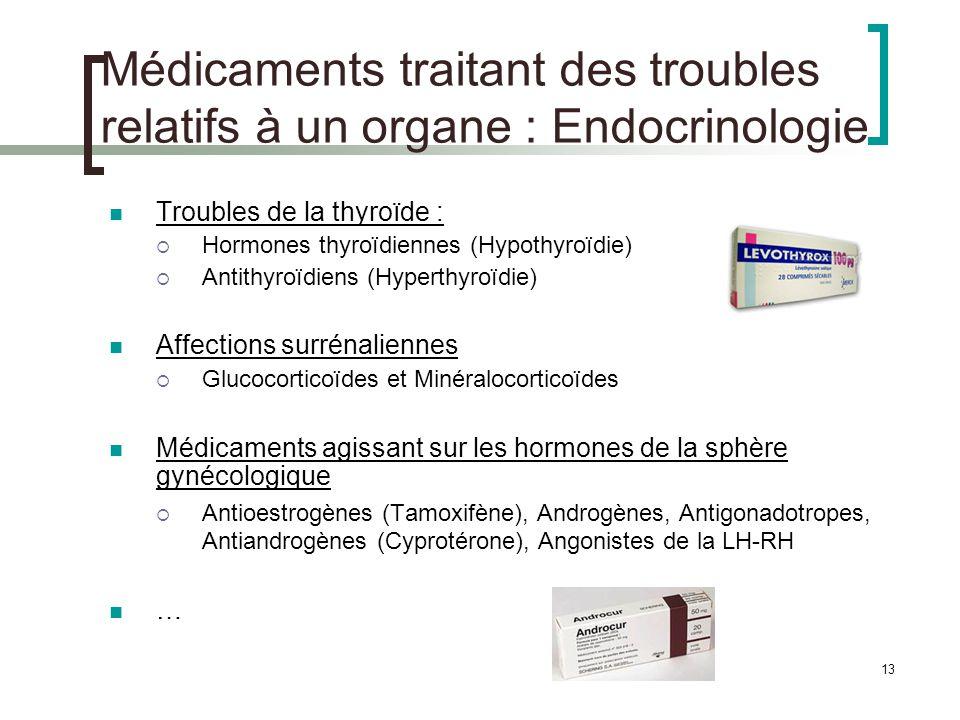 13 Médicaments traitant des troubles relatifs à un organe : Endocrinologie Troubles de la thyroïde : Hormones thyroïdiennes (Hypothyroïdie) Antithyroï