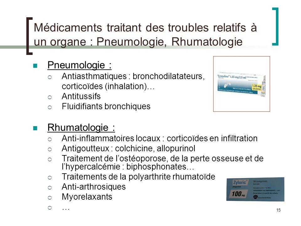 15 Médicaments traitant des troubles relatifs à un organe : Pneumologie, Rhumatologie Pneumologie : Antiasthmatiques : bronchodilatateurs, corticoïdes