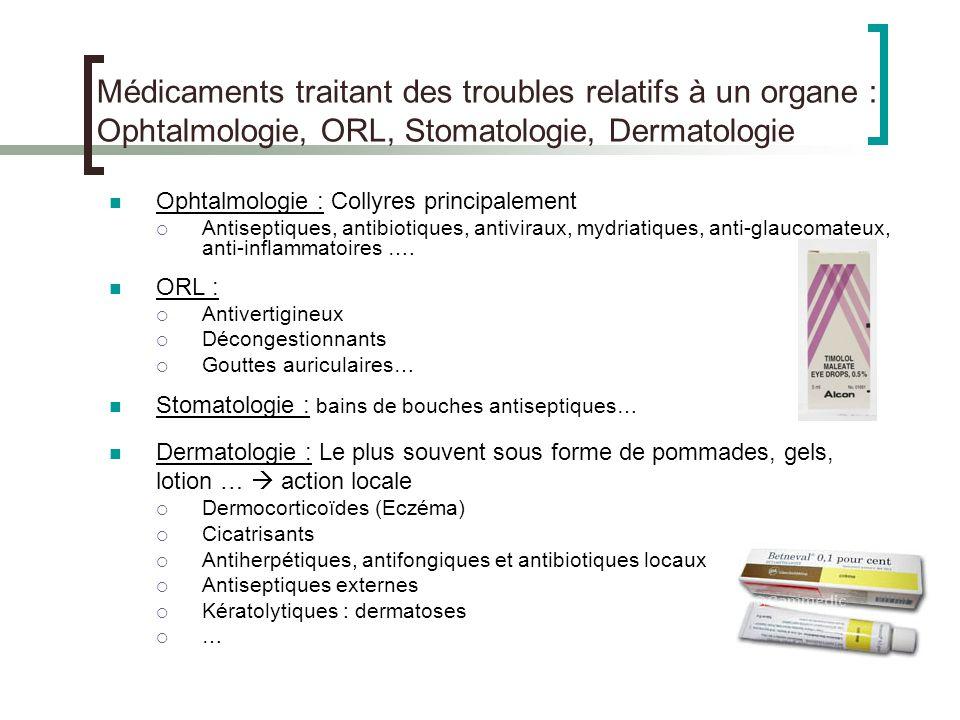 17 Médicaments traitant des troubles relatifs à un organe : Ophtalmologie, ORL, Stomatologie, Dermatologie Ophtalmologie : Collyres principalement Ant