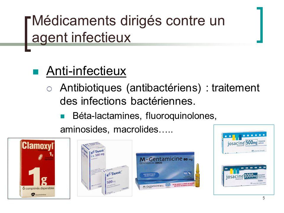 6 Médicaments dirigés contre un agent infectieux Antituberculeux, antilépreux : traitements des mycobactéries Antiviraux : traitement des virus (VIH, Hépatite, Herpès….) Exemple : Antirétroviraux