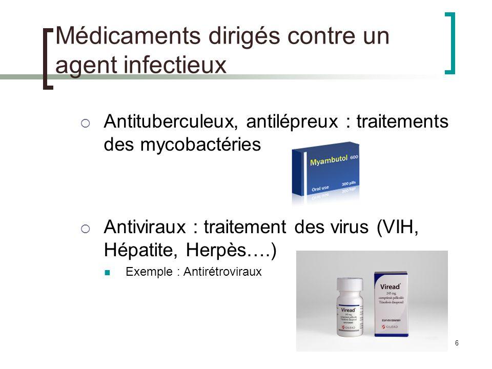 6 Médicaments dirigés contre un agent infectieux Antituberculeux, antilépreux : traitements des mycobactéries Antiviraux : traitement des virus (VIH,
