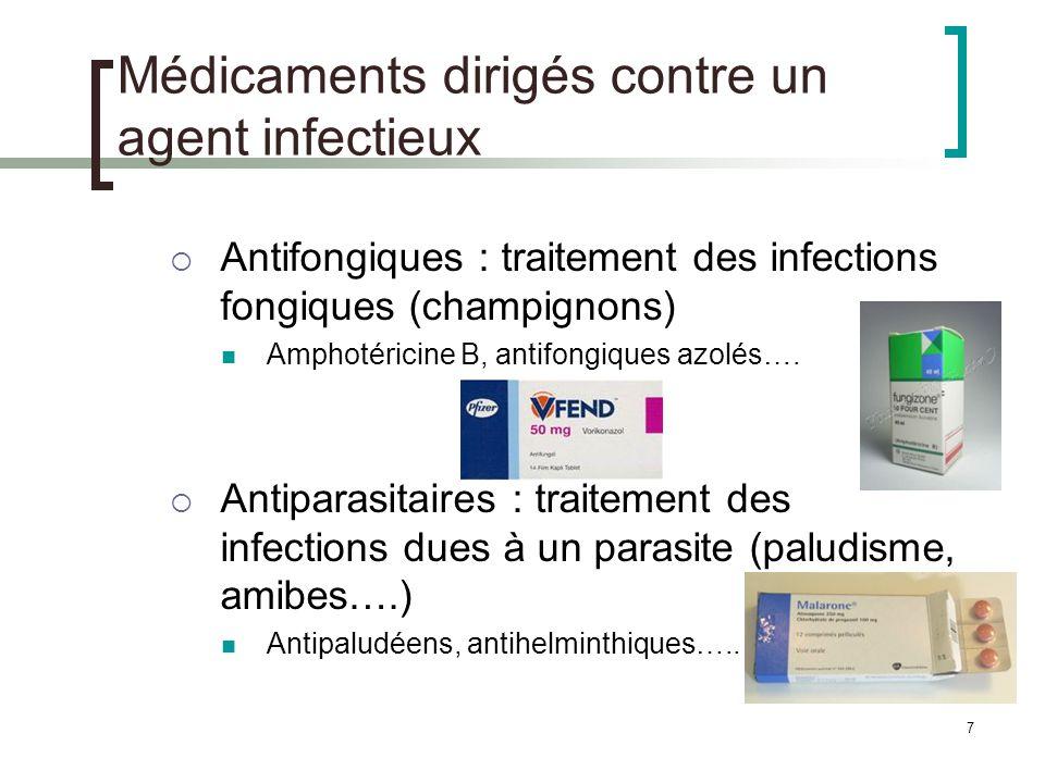 7 Médicaments dirigés contre un agent infectieux Antifongiques : traitement des infections fongiques (champignons) Amphotéricine B, antifongiques azol