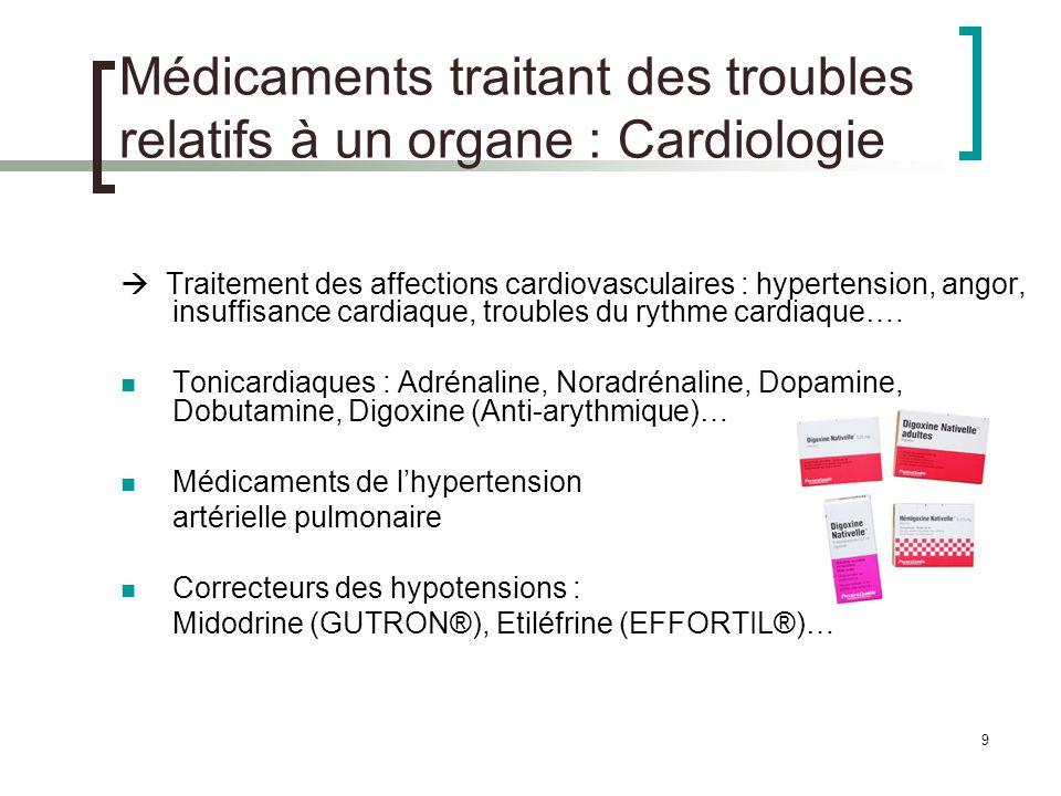 10 Médicaments traitant des troubles relatifs à un organe : Cardiologie Médicaments indiqués dans plusieurs affections cardiovasculaires -bloquants : angor, insuffisance cardiaque, hypertension artérielle, traitement post-infarctus, anti-arythmiques… Diurétiques, Inhibiteurs de lEnzyme de Conversion, Sartans : hypertension artérielle, insuffisance cardiaque, traitement post-infarctus … Inhibiteurs calciques : angor, hypertension artérielle, traitement post- infarctus, anti-arythmiques… Dérivés nitrés : angor, insuffisance cardiaque