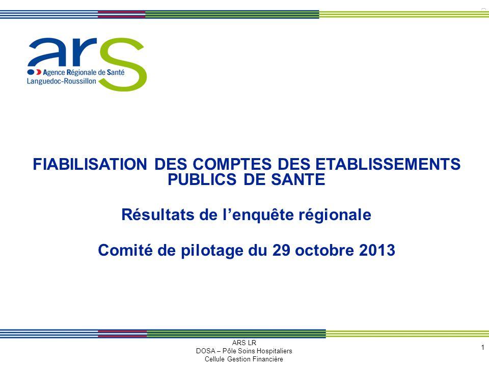 © arS LR 2010 FIABILISATION DES COMPTES DES ETABLISSEMENTS PUBLICS DE SANTE Résultats de lenquête régionale Comité de pilotage du 29 octobre 2013 1 AR