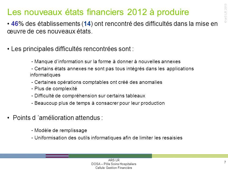© arS LR 2010 Les nouveaux états financiers 2012 à produire 7 46% des établissements (14) ont rencontré des difficultés dans la mise en œuvre de ces n