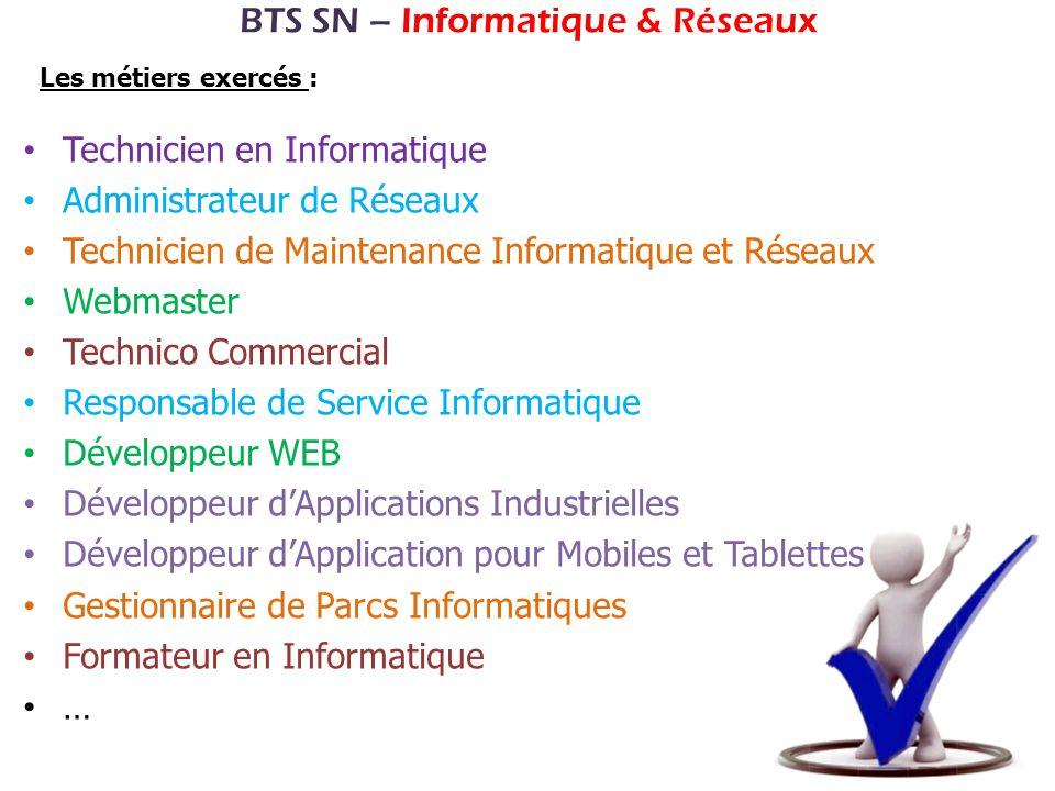 BTS SN – Informatique & Réseaux Technicien en Informatique Administrateur de Réseaux Technicien de Maintenance Informatique et Réseaux Webmaster Techn
