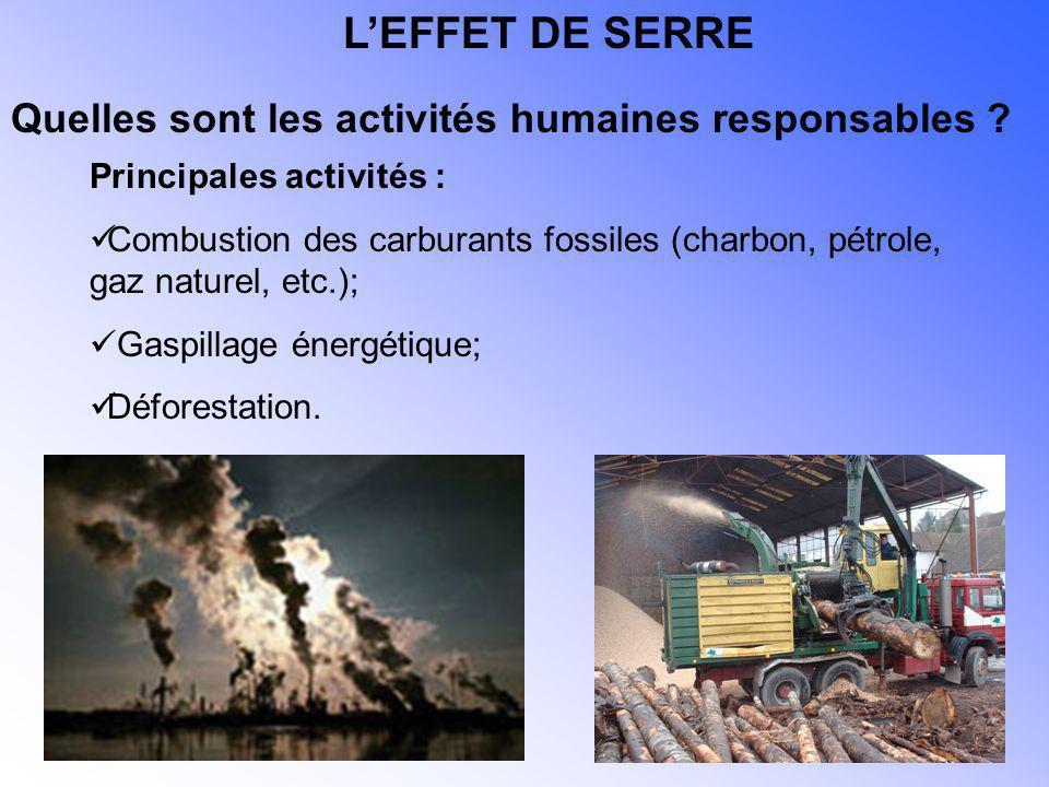 Principales activités : Combustion des carburants fossiles (charbon, pétrole, gaz naturel, etc.); Gaspillage énergétique; Déforestation. Quelles sont