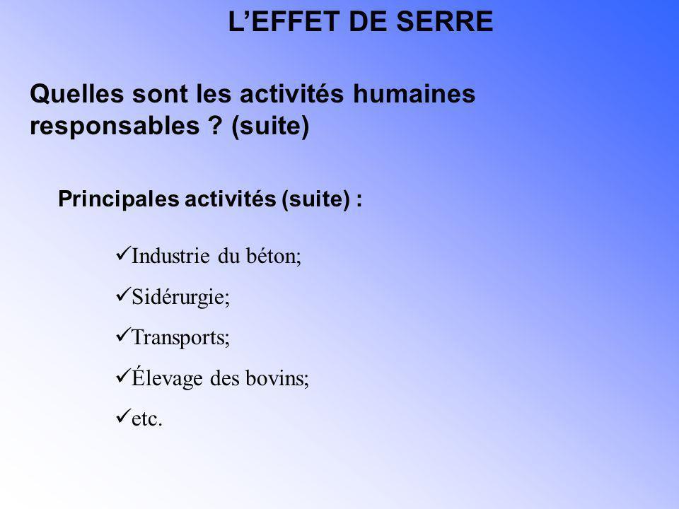 Industrie du béton; Sidérurgie; Transports; Élevage des bovins; etc. Quelles sont les activités humaines responsables ? (suite) Principales activités