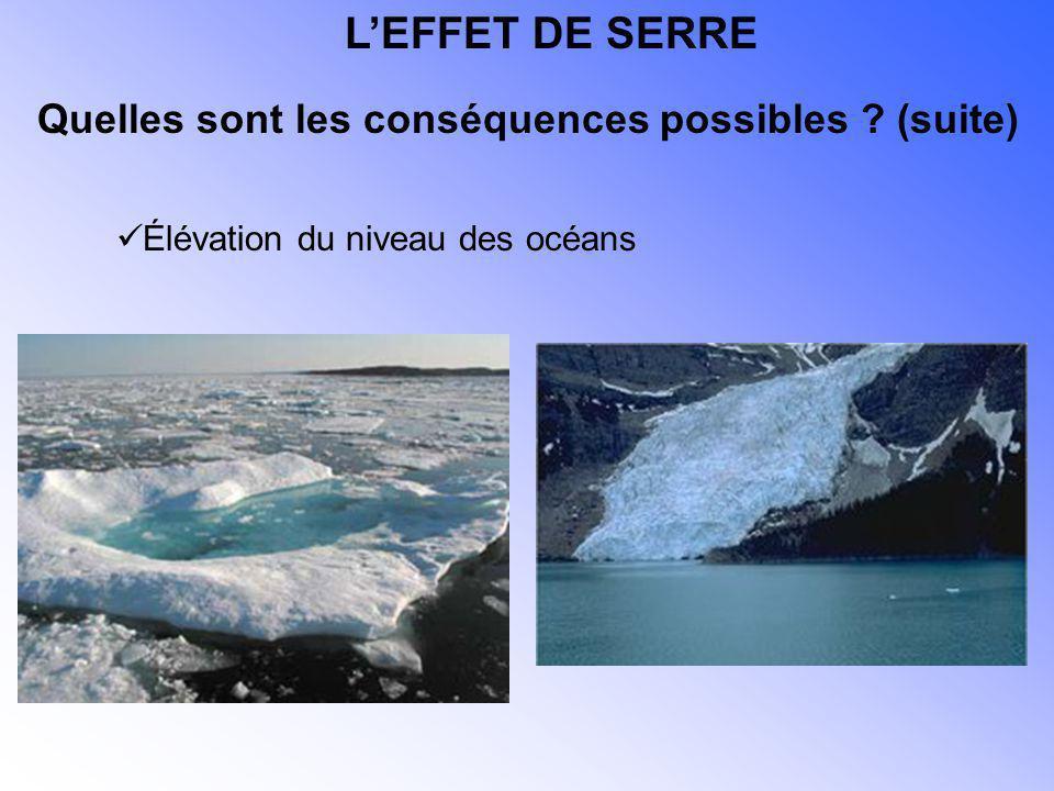 Élévation du niveau des océans Quelles sont les conséquences possibles ? (suite) LEFFET DE SERRE
