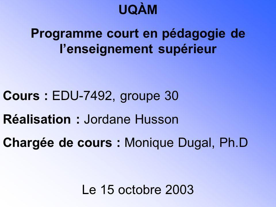 UQÀM Programme court en pédagogie de lenseignement supérieur Cours : EDU-7492, groupe 30 Réalisation : Jordane Husson Chargée de cours : Monique Dugal