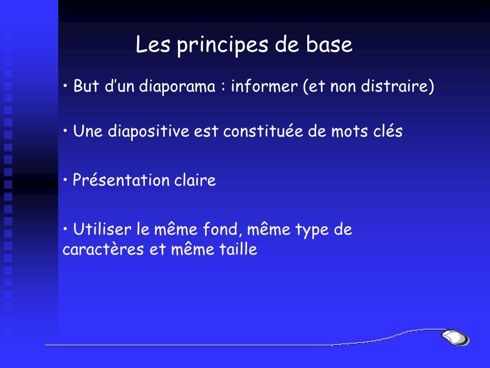 Les principes de base But dun diaporama : informer (et non distraire) Une diapositive est constituée de mots clés Présentation claire Utiliser le même fond, même type de caractères et même taille