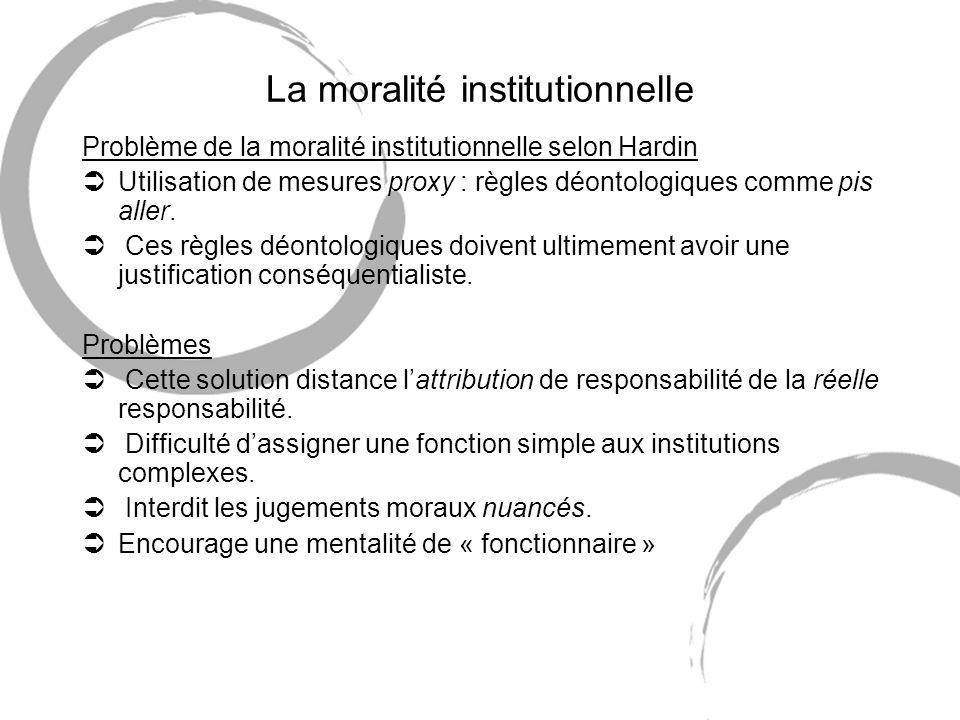 La moralité institutionnelle Problème de la moralité institutionnelle selon Hardin ÜUtilisation de mesures proxy : règles déontologiques comme pis aller.
