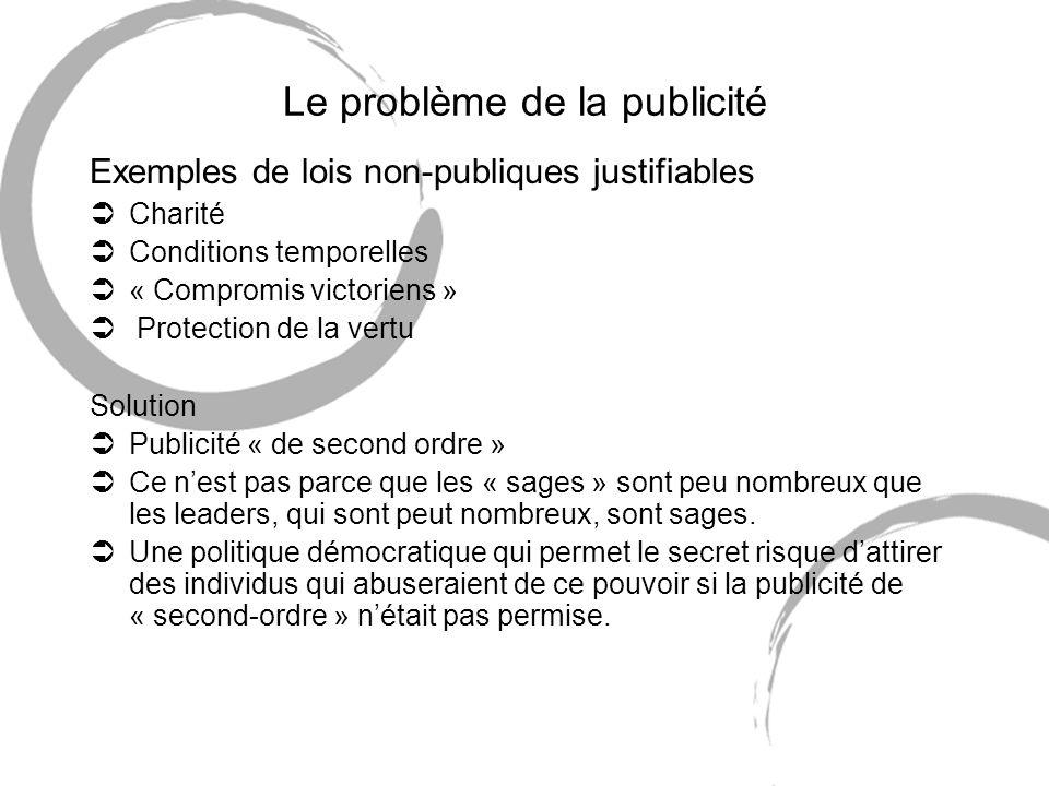 Le problème de la publicité Exemples de lois non-publiques justifiables ÜCharité ÜConditions temporelles Ü« Compromis victoriens » Ü Protection de la