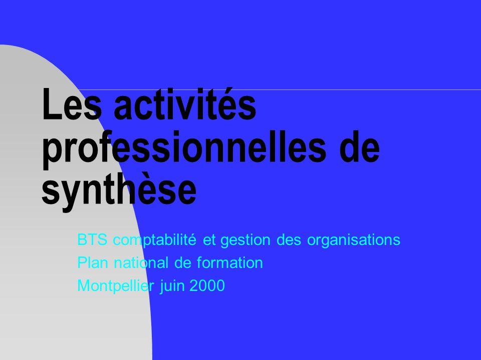 Les activités professionnelles de synthèse BTS comptabilité et gestion des organisations Plan national de formation Montpellier juin 2000