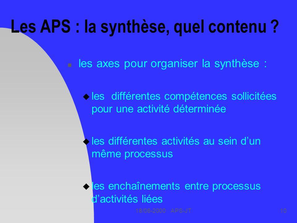18/06-2000 APS-JT10 Les APS : la synthèse, quel contenu ? n les axes pour organiser la synthèse : u les différentes compétences sollicitées pour une a