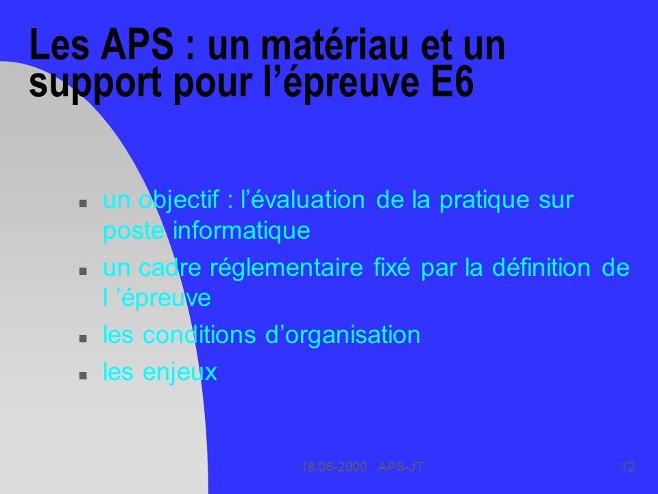 18/06-2000 APS-JT12 Les APS : un matériau et un support pour lépreuve E6 n un objectif : lévaluation de la pratique sur poste informatique n un cadre réglementaire fixé par la définition de l épreuve n les conditions dorganisation n les enjeux