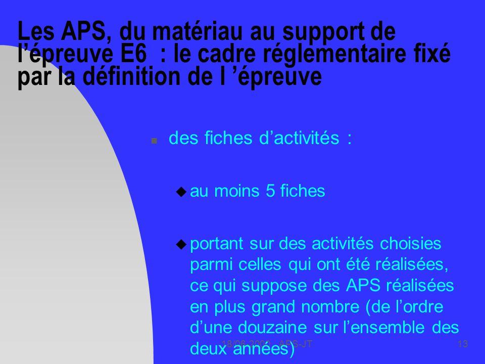18/06-2000 APS-JT13 Les APS, du matériau au support de lépreuve E6 : le cadre réglementaire fixé par la définition de l épreuve n des fiches dactivités : u au moins 5 fiches u portant sur des activités choisies parmi celles qui ont été réalisées, ce qui suppose des APS réalisées en plus grand nombre (de lordre dune douzaine sur lensemble des deux années)