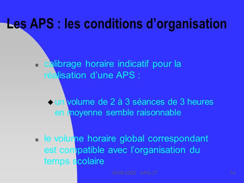 18/06-2000 APS-JT14 Les APS : les conditions dorganisation n calibrage horaire indicatif pour la réalisation dune APS : u un volume de 2 à 3 séances de 3 heures en moyenne semble raisonnable n le volume horaire global correspondant est compatible avec lorganisation du temps scolaire