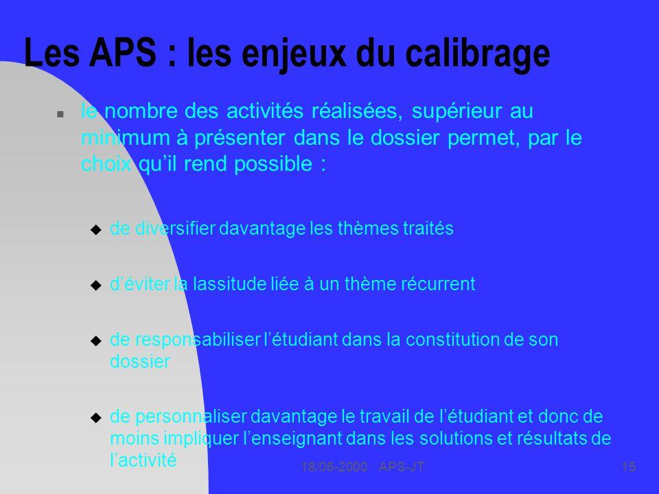 18/06-2000 APS-JT15 Les APS : les enjeux du calibrage n le nombre des activités réalisées, supérieur au minimum à présenter dans le dossier permet, pa
