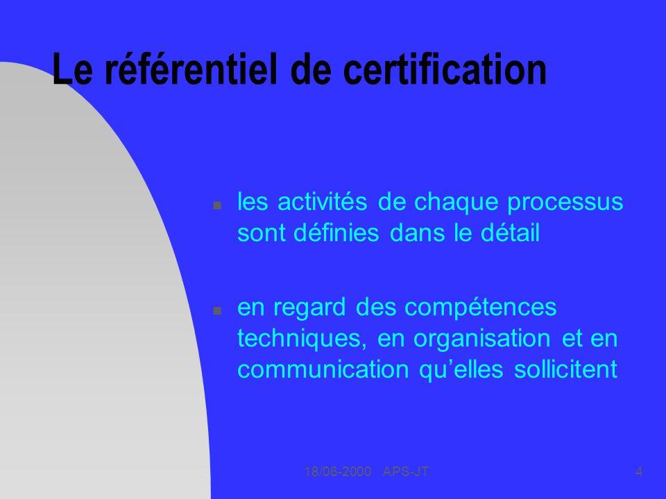 18/06-2000 APS-JT4 Le référentiel de certification n les activités de chaque processus sont définies dans le détail n en regard des compétences techniques, en organisation et en communication quelles sollicitent